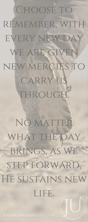 Choose to remember, with every new day we are given new mercies to carry us through. No matter what the day brings, as we step forward, He sustains new life.